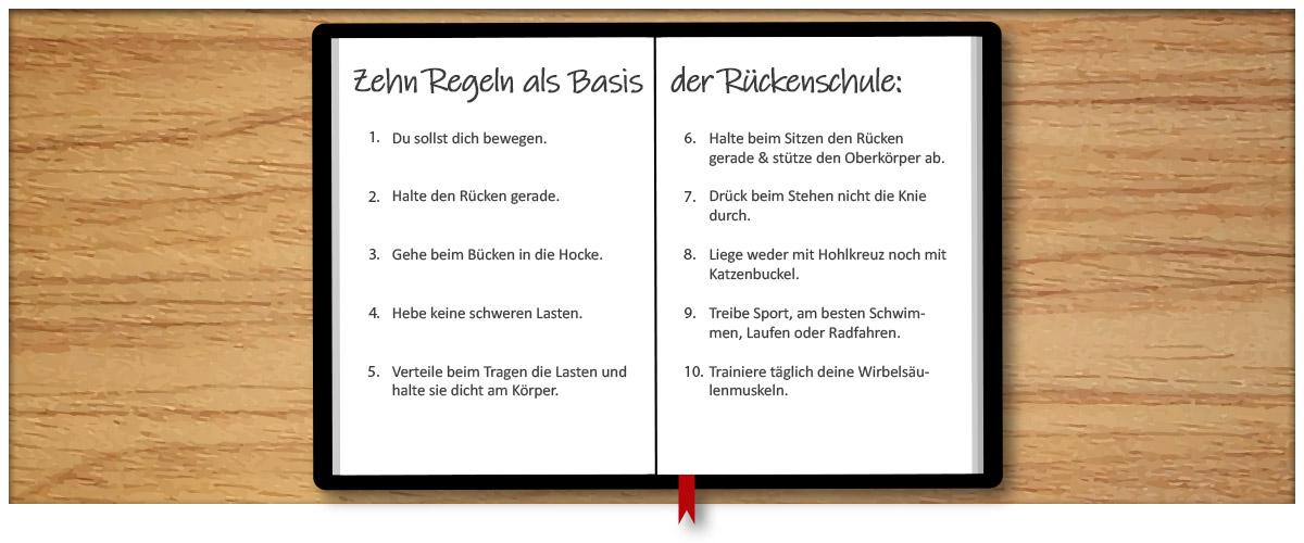 Rückenschule - 10 Regeln